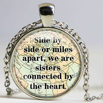 Glass Tile Sister Necklace Side By Side or Miles Apart We Are Sisters Connected By the Heart Chain Pendant Necklace Gift image