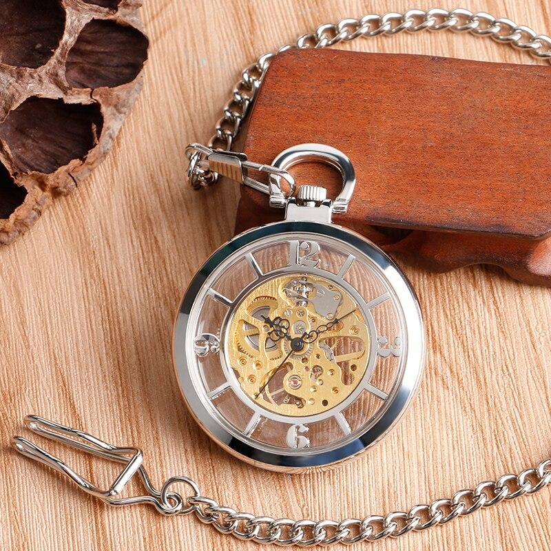 Esqueleto da Mão-vento Relógios de Presente de Natal dos Homens o Envio Gratuito de Prata Mostrador Mecânica Pocket Steampunk Fob Oco Ver