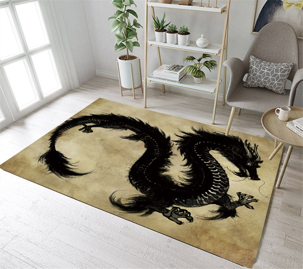 Lb black dragon gold kitchen area rug colorful for living - Gold rug for living room ...
