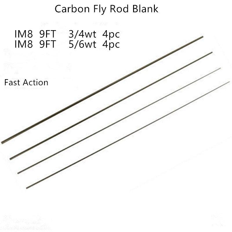 6wt 4pc IM8 Graphite Rod Blank Fast Action Matte Green 9/'