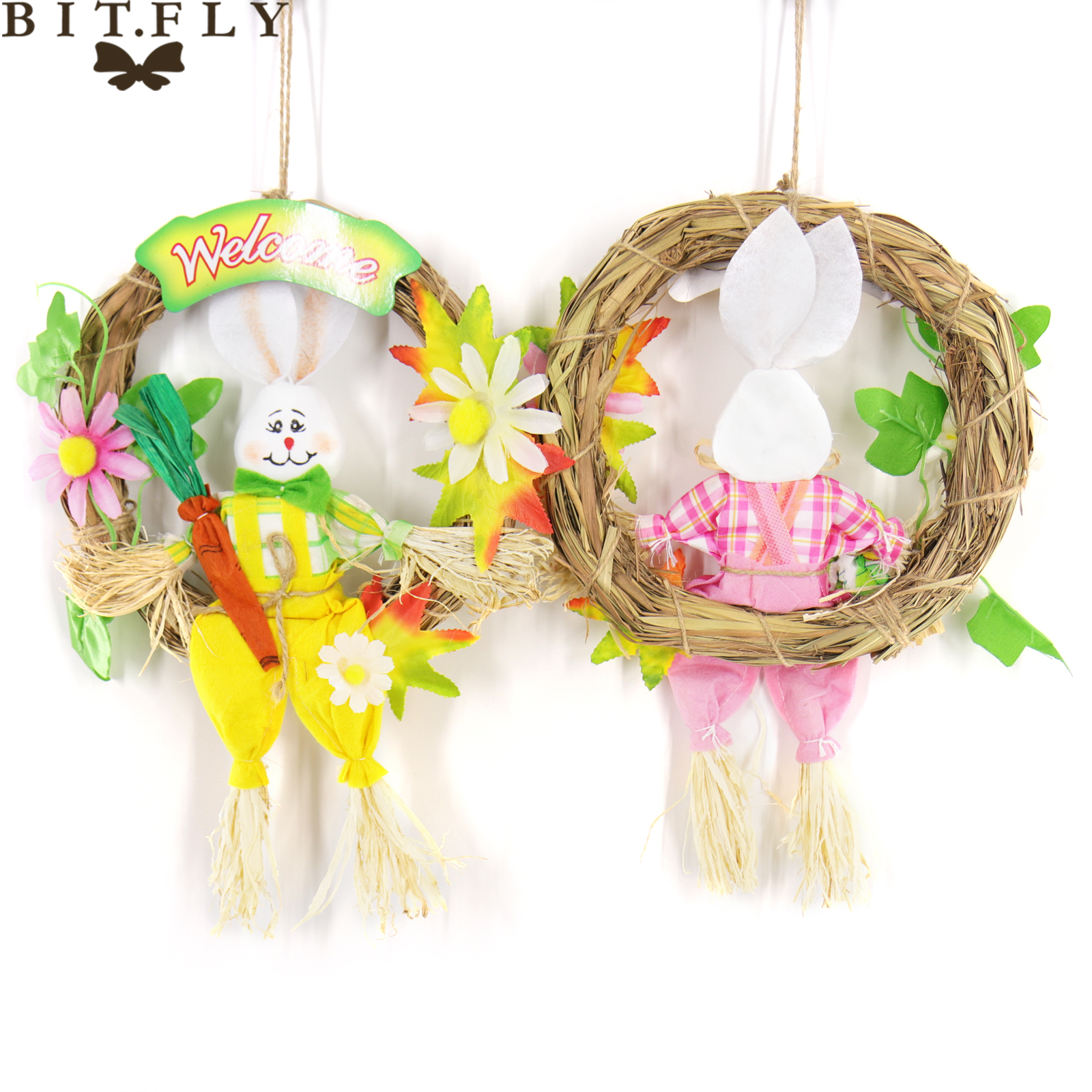Us 3 44 18 Off Bitfly 1pc Straw Cute Easter Rabbit Easter Rabbit With Carrot Wreath Garland Party Door Decoration Easter Decoration For Home In