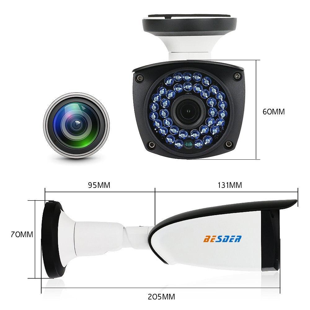 BESDER 1080P 960P 720P Wire&Wireless IP Camera Night Version 30m Waterproof IP67 Wifi CCTV Security IP Camera 128G TF Card Slot