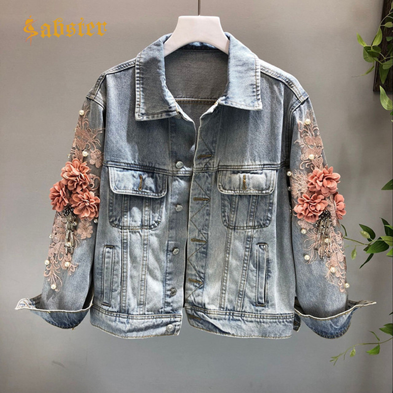 2018 Spring Autumn Jeans Jacket Coat Woman Pearl Beaded Flower Embroidered  Vintage Denim Jackets Basic Coats kz422