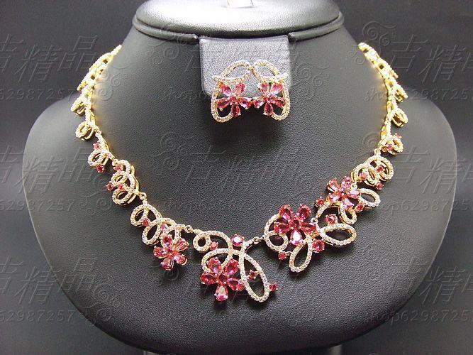 Luxueux mode zircon or bijoux rouge corindon collier chaîne définit la mariée robe de mariée formelle robe accessoires