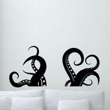Octopus Tentacles Wall Decal Bathroom Decor Sea Animal Tentacle Style Wall Sticker Removable Octopus Wall Mural Vinyl Art AY0226 short sleeve octopus tentacles print tee
