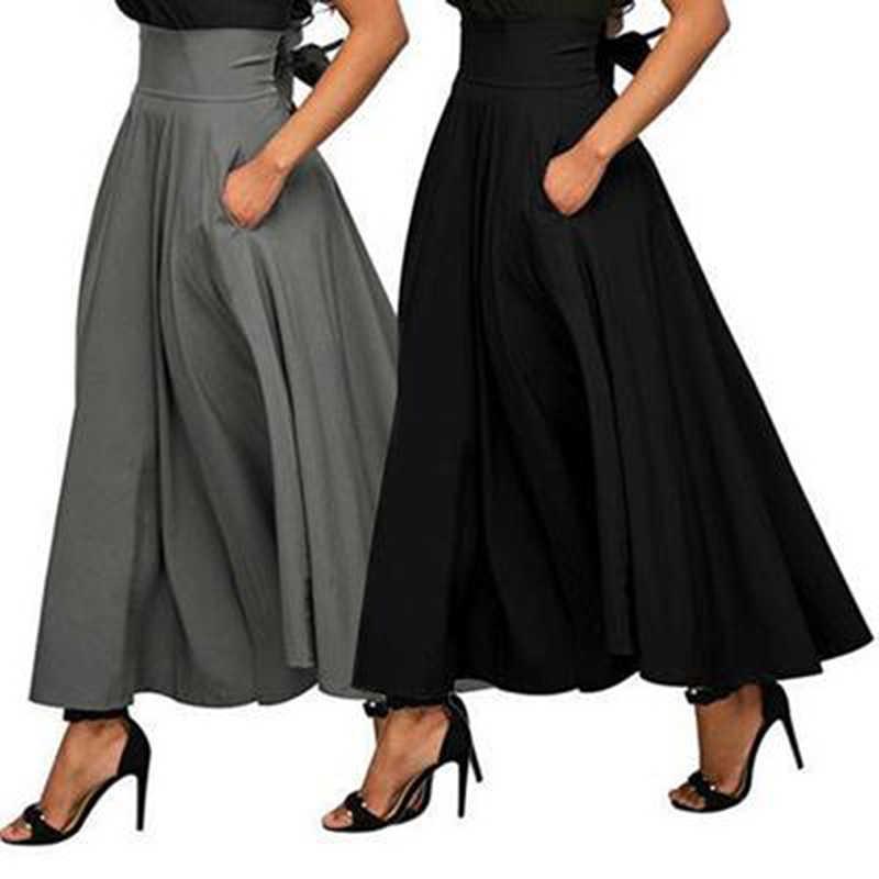 85ad4210dcf ... 2018 Осенняя длинная юбка с карманом из хлопка высокого качества