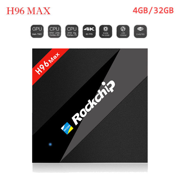 H96 MAX 4G/32G RK3399 Six Core Android 7.1 TV Box OpenGL/VG/CL H.265 4K 2K Media Player set top box Dual WiFi 2.4/5Ghz BT4.0