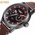 2016 Nuevo Top Luxury Brand EYKI hombres Reloj de Cuarzo de Relojes Fecha Reloj Hombre Deporte Militar Impermeable Reloj de Pulsera de Cuero hombre Del Relogio