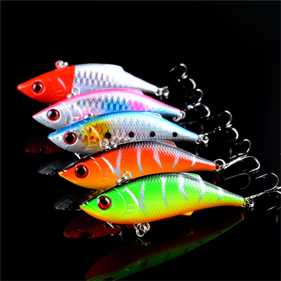 5pcs lot winter fishing lures hard bait vib with lead for Lot of fish