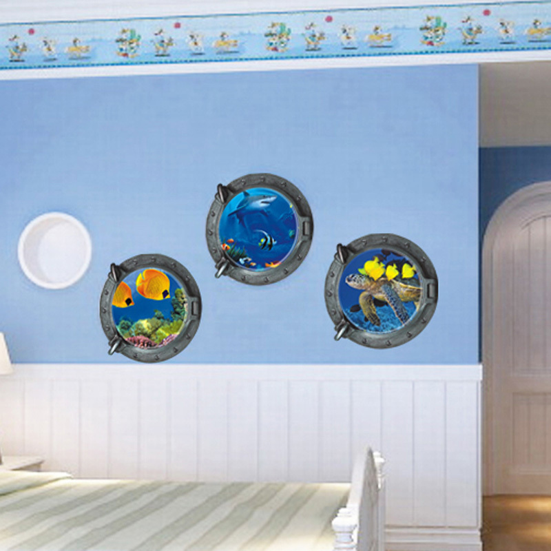 Underwater View Fish D Window Wall Sticker For Kids Room Wall - 3d window wall decals