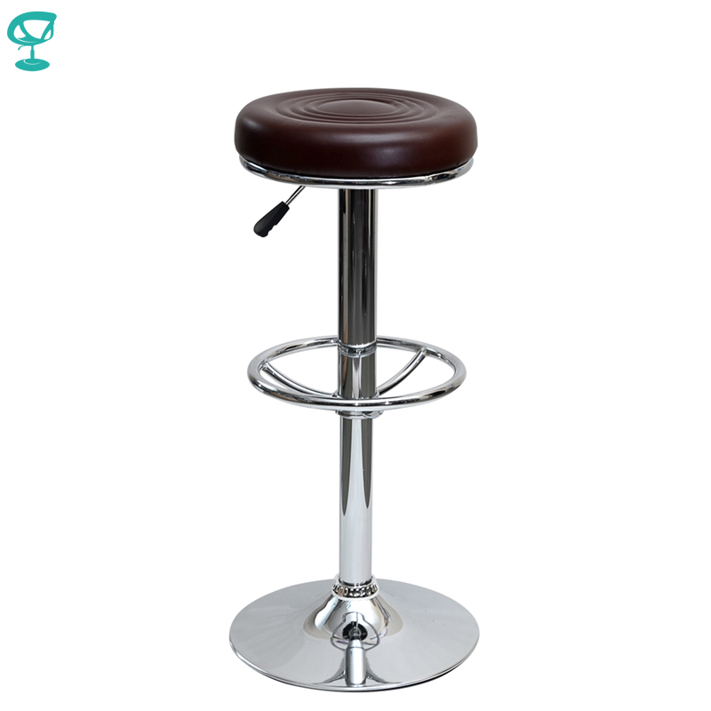 94783 Barneo N-128 Leather Kitchen Breakfast Bar Stool Swivel Bar Chair Brown Color Free Shipping In Russia