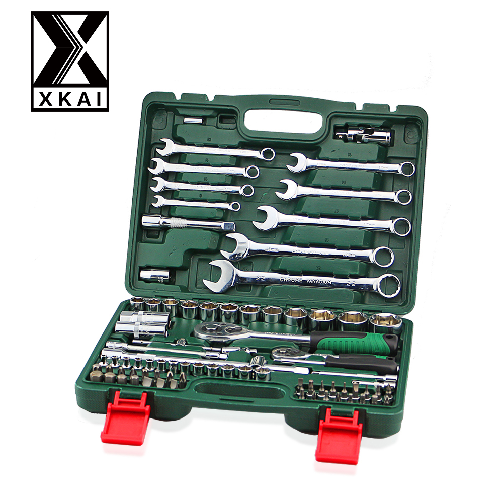 XKAI 82PCS HIGH QUALITY Spanner Socket Set Car Repair Tool Ratchet Wrench Set Torque Wrench Combination Bit  a set of keys 10mm 12mm 13mm 17mm 19mm ratchet spanner combination wrench a set of keys ratchet skate tool gear ring wrench ratchet set