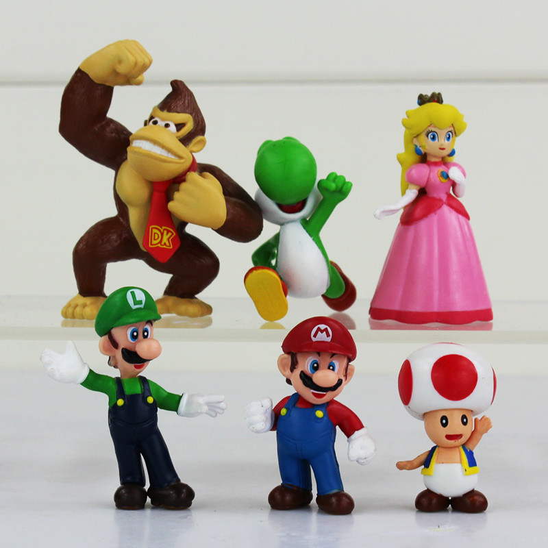 ᗔ6 Pcs Lot Super Mario Luigi Mario Yoshi Kinopio Princess Peach