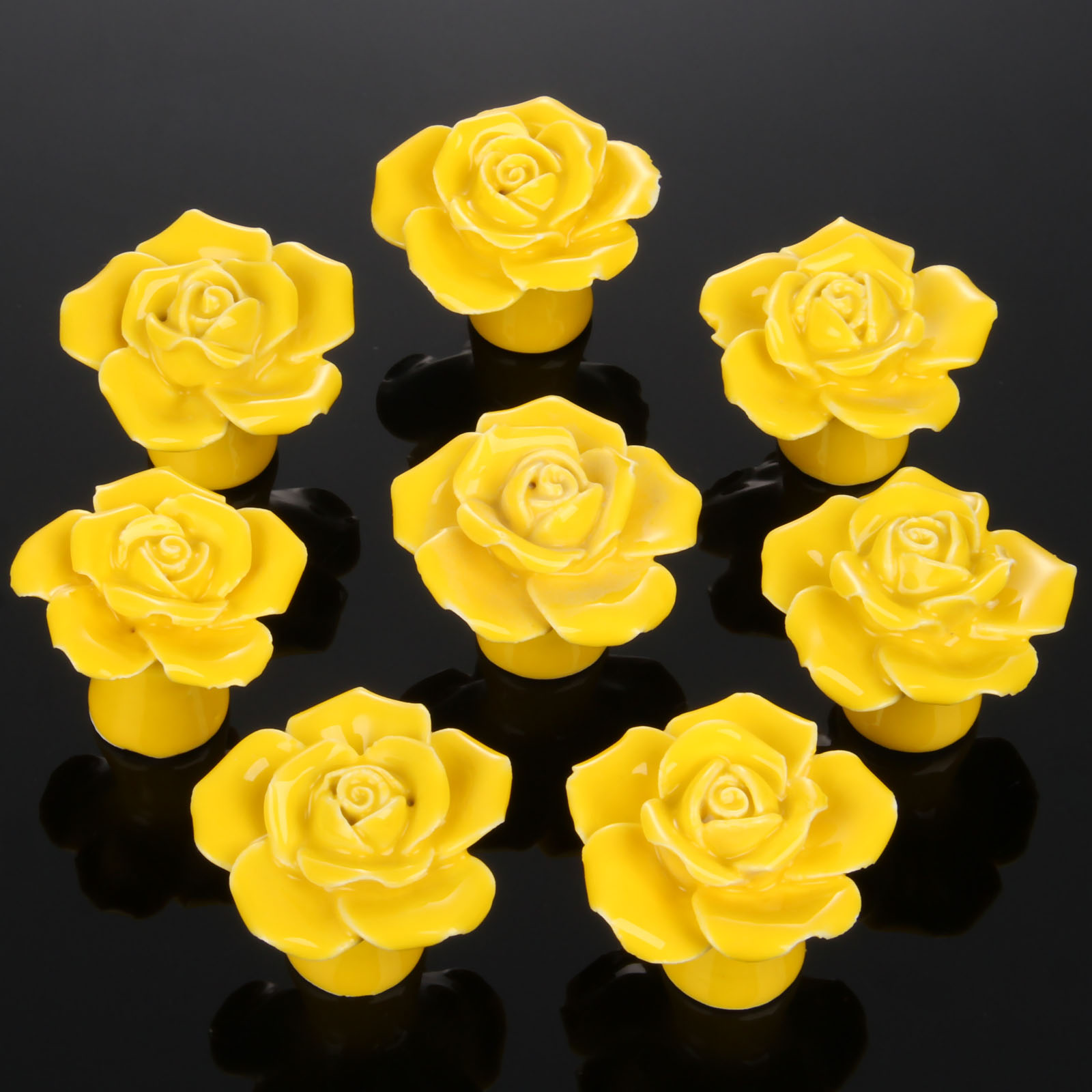 8Pcs Furniture Handles Ceramic Cabinet Knobs and Handles Door Cupboard Drawer Kitchen Pull Handles Furniture Fitting Yellow Rose furniture drawer handles wardrobe door handle and knobs cabinet kitchen hardware pull gold silver long hole spacing c c 96 224mm