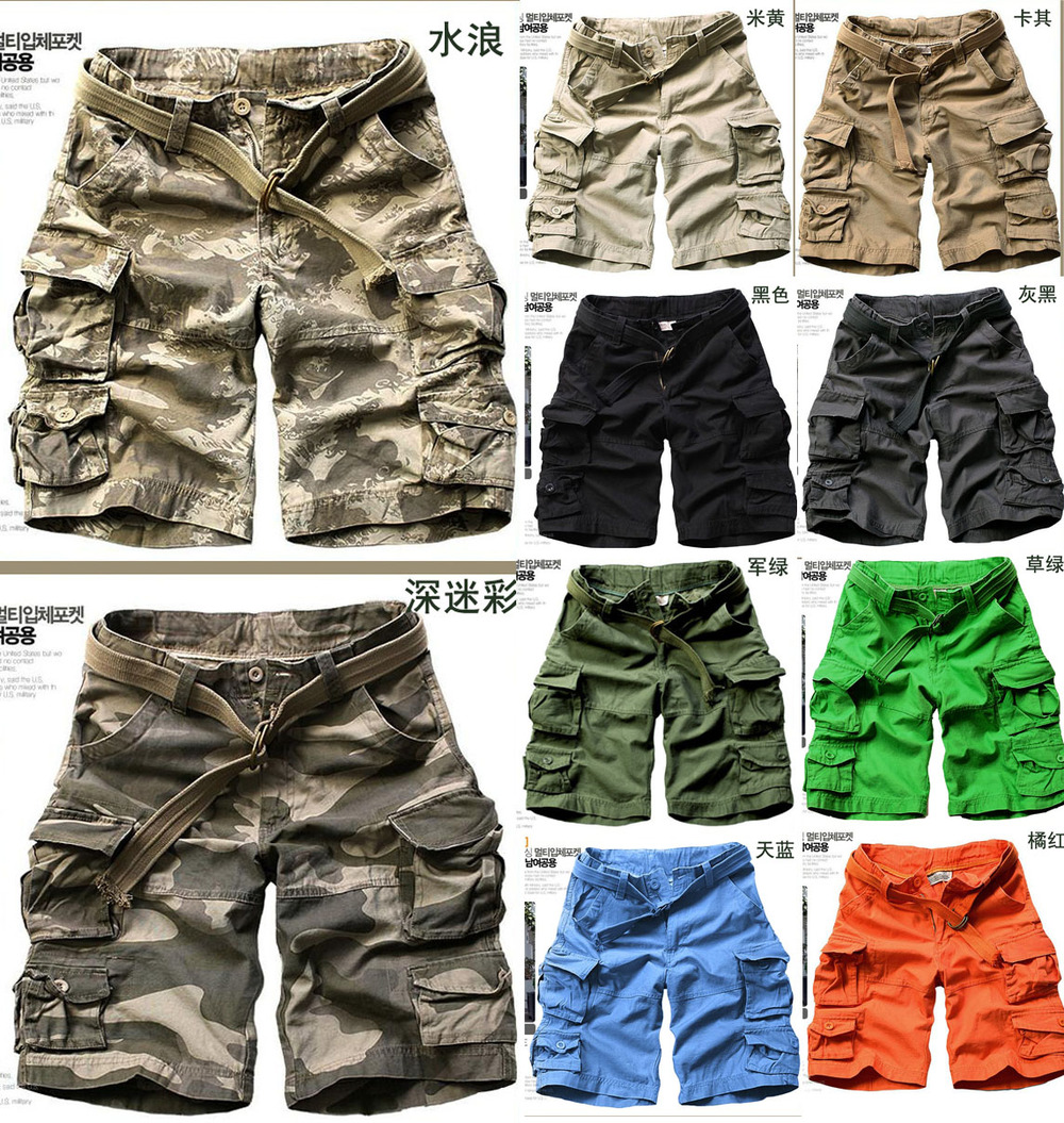 New 2015 Casual men's clothing Green Camouflage short trousers ...