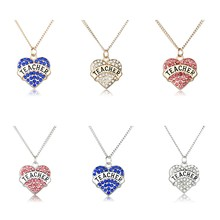3 Colors New Crystal Heart Teacher Necklace / Keychain Family Women Men Jewelry Necklace / Keychain Teachers' DayGift(China)