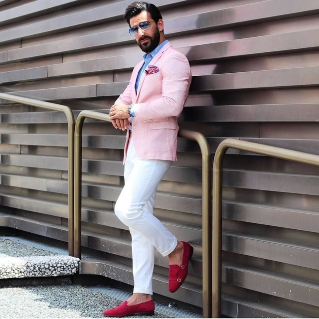 2019 Latest Coat Pant Designs Casual Mens Suits Pink Groom Tuxedos Blazer Groomsmen Wedding Party Suits For Beach Best Man Suits