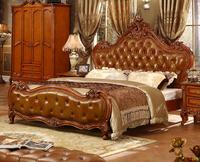 China bedroom furniture King leather bed