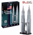 Candice guo Cubicfun 3D stereo jigsaw puzzle DIY manual assemble building paper model C720H Kuala Lumpur Petronas Twin Tower 1pc
