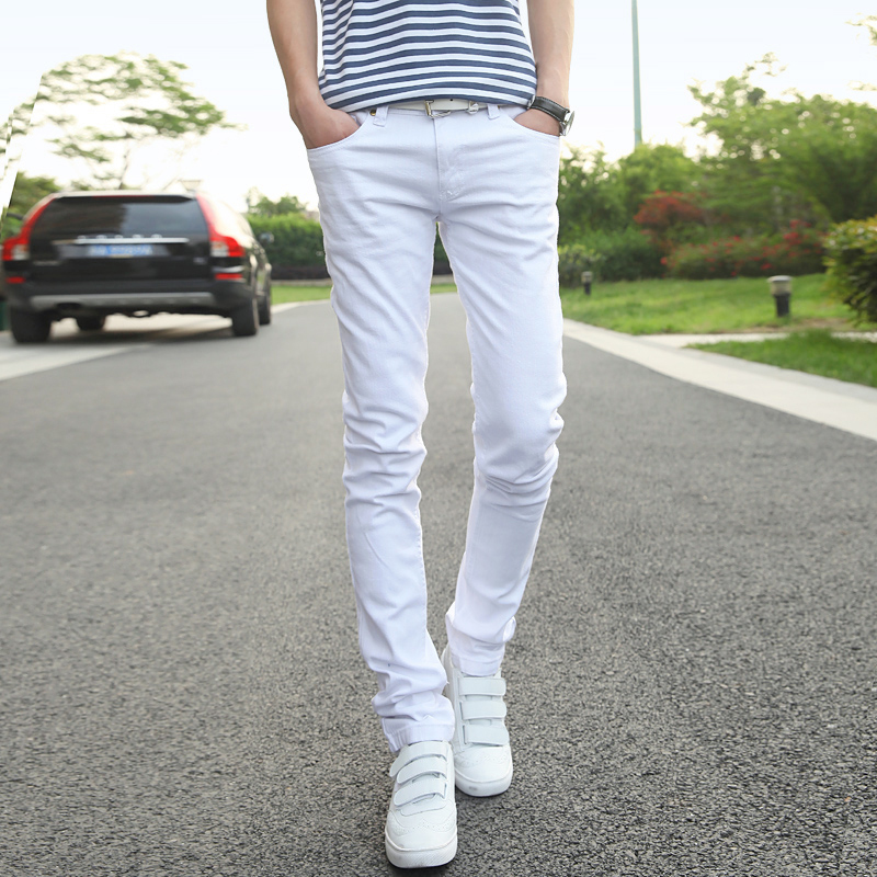 Mens   Jeans   Fashion Business Casual 2017 White Male Pants LEFT ROM Men Cowboy Trousers Size 36 Simple Style Design Popular Trend