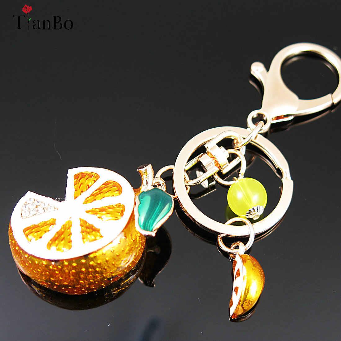 TianBo 3D Fruto Chaveiro Laranja & Limão Charme Pingente de Presente de Casamento de Cristal Rhinestone Keychain para Bolsa Do Saco Do Partido Do Carro Coleção