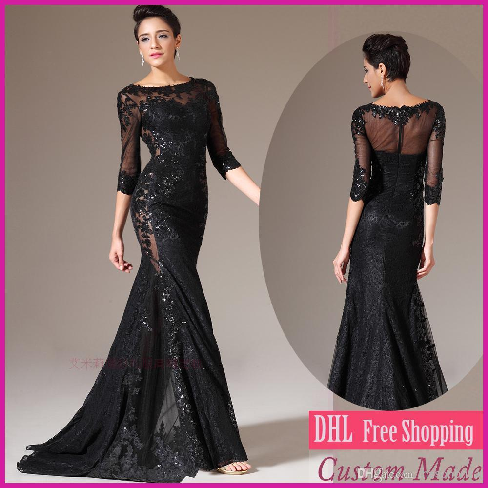 free shipping robe de soiree 2014 new fashion hot sexy long sleeve vestido de festa party gown black lace Formal   evening     dresses