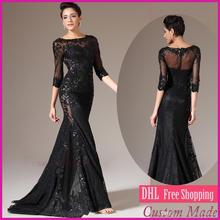free shipping robe de soiree 2014 new fashion hot sexy long sleeve vestido festa party gown black lace Formal evening dresses