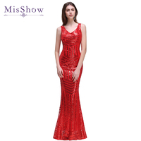 In stock Robe de soiree Red Sleeveless Evening Dress Sequins Gowns Mermaid Evening Dresses Long Sheer Back Party dress 2018