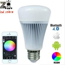 E27 8w rgbw bluetooth 4.0 led bulb with smartphone control 16million colors for smart home illumination AC85-265v