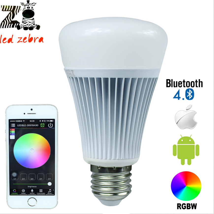 E27 8w rgbw bluetooth 4.0 led bulb with smartphone control 16million colors for smart home illumination AC85-265v smart bulb e27 7w led bulb energy saving lamp color changeable smart bulb led lighting for iphone android home bedroom lighitng