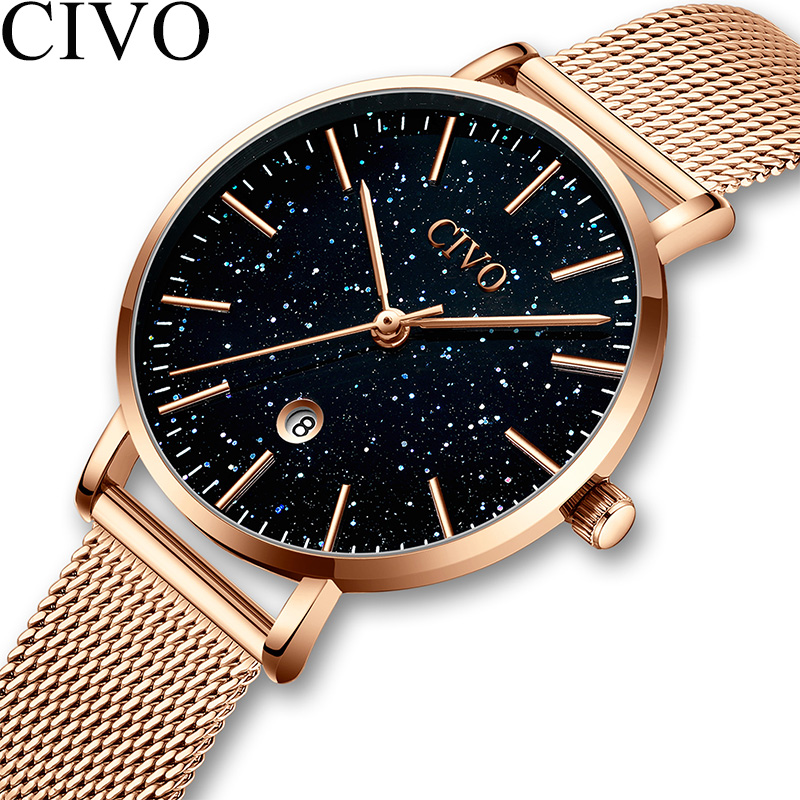 CIVO Fashion Luxury Watch Women Blue Starry Sky Face Ladies Watch Rose Gold Steel Mesh Waterproof Quartz Wristwatch Montre Femme