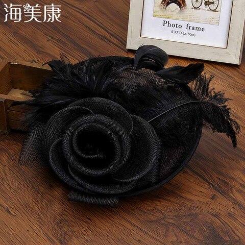 Chapéu de Malha Acessórios para o Cabelo Haimeikang Elegante Hairpins Feminino Flor Arco Hairpin Casamento Fotografia Adereços Pena Headdress