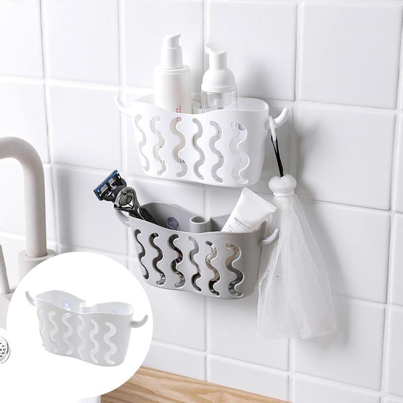 Suction Cup Sink Shelf Storage Rack Soap Sponge Drain Rack Kitchen Accessories Bathroom Storage Tools Plastic Sucker Holder
