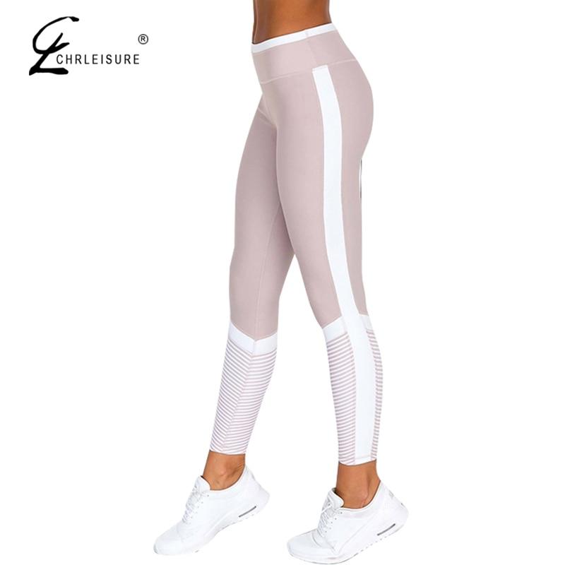 CHRLEISURE Fashion Side Stripe Leggings Push Up Female Digital Print Leggings Women High Waist Exercise Leggings Pants Women Wo