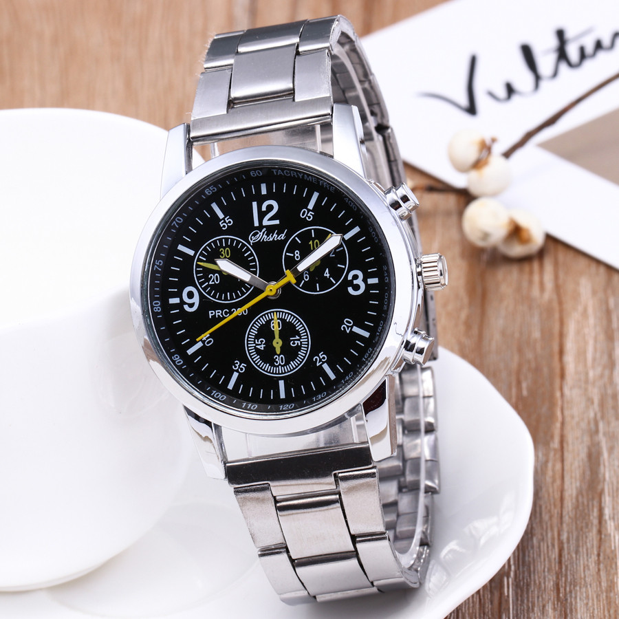 Men's Fashion Quartz Analog Wristwatch Stainless Steel Band Watch Polshorloge Business Male Clock Manner Hommes Beobachten B40