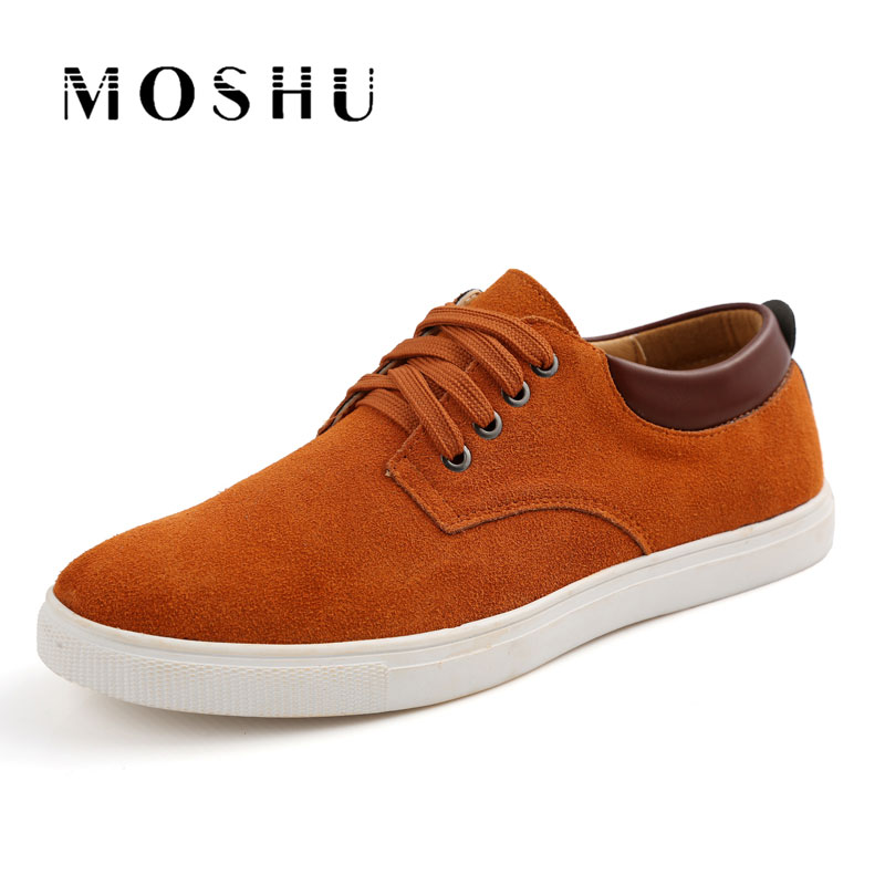2017 Men Genuine Leather Casual Shoes Lace Up Sneakers Suede Gentlemans Comfortable Flat Shoes Plus Size 38-47 Chaussure Homme