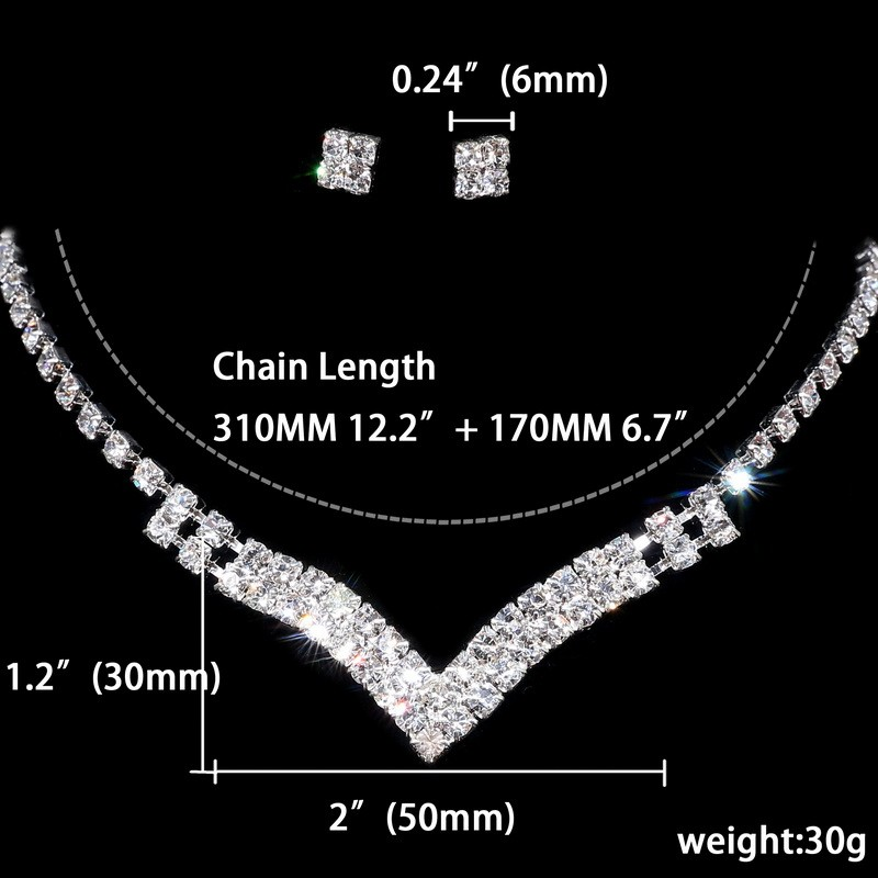 Beautiful Silver Wedding Jewelry Set For Bride Accessory V Neck Necklace Square Stud Earrings Women