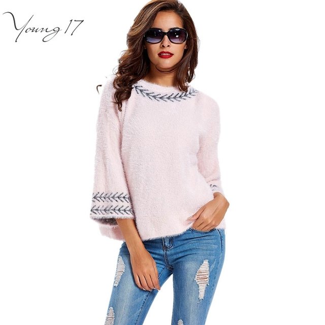 Young17 Autumn winter loose pink sweaters Pullover camel color fall warm Tops geometric light blue 3/4 Sleeve Cashmere Sweater