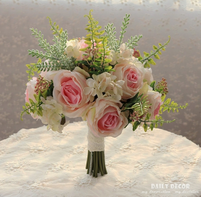 new artificial wedding bouquet for brides bridesmaids rose hydrangea fake flowers large bridal bouquets ivory - Garden Rose And Hydrangea Bouquet