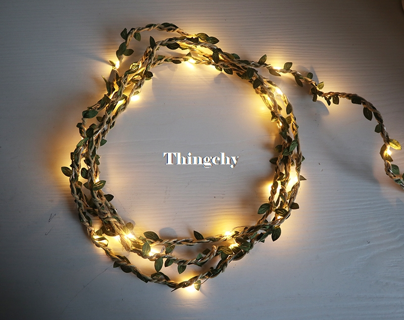 Hemp Rope Leaves Garland Fairy Light Led Copper Wire Battery String Lights Indoor Home For Dining Table Wedding Party Decoration