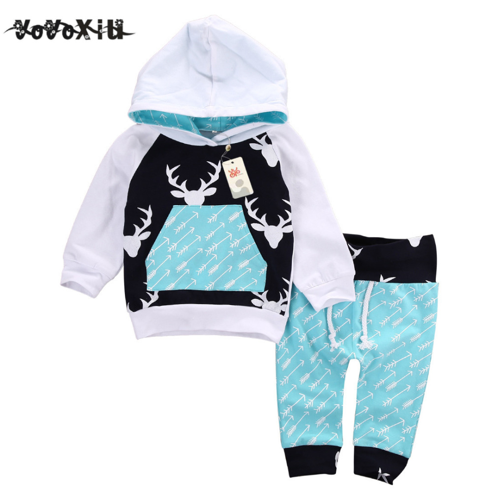 LCLL-yoyoxiu Christmas Kids Baby Girls Boys Reindeer Hooded Tops +Pants Outfits Set 2pcs suit baby boy clothes newborn