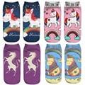 15 Colores de La Nueva Manera Mujeres Lindas 3D Animales Unicornio Impreso Zapatillas calcetines Del Tobillo calcetines de mujer