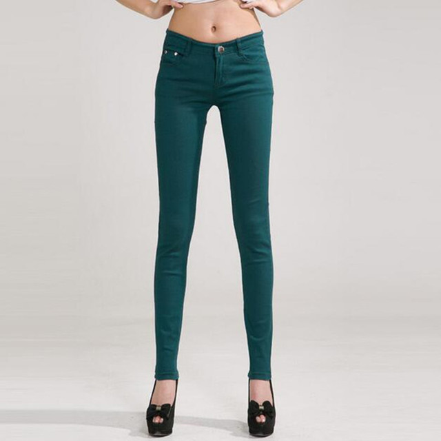 Woman Candy Colored Mid Waist Full Length Zipper Slim Fit Skinny Pants