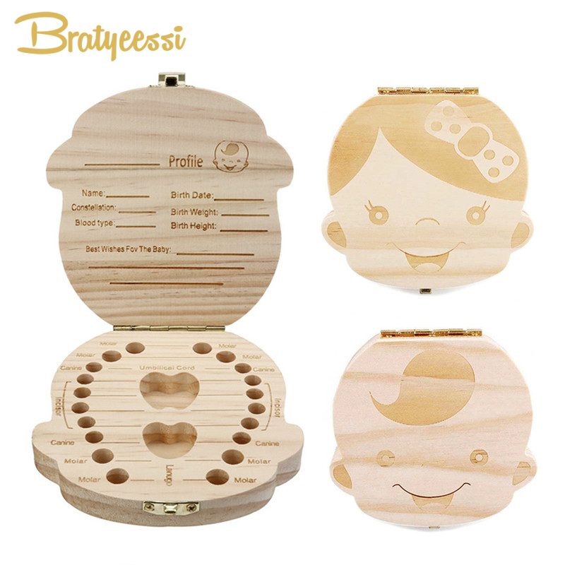 Wooden Kids Baby Milk Teeth Box Organizer Wood Storage Baby Tooth Box For Boy Girl Save Teeth Gift Umbilical Cord Lanugo