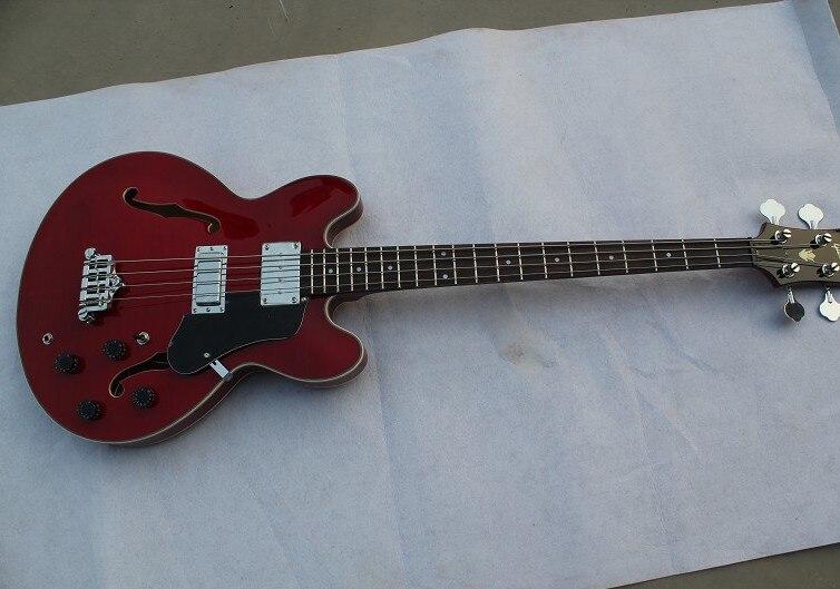 Commercio all'ingrosso-Bass Guitar Nuovo Arrivo EB-Bass Guitar Hollow Body 4 Corde corde Basso Elettrico TS rosso 12-18