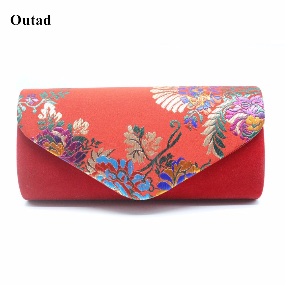Vintage Embroidery Rose Printed Floral Women Evening Bag Velvet Clutch Ba'g Messenger Chain Shoulder Small Handbags