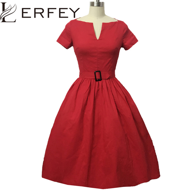 c9d2a8fb44c Vestidos Women Dress Summer 50S 60S Retro Vintage Casual Classical Dresses  Rockabilly Pinup Party Short Sleeve