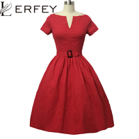 Vestidos Women Dress Summer 50S 60S Retro Vintage Casual Classical Dresses Rockabilly Pinup Party Short Sleeve Dress Clothing