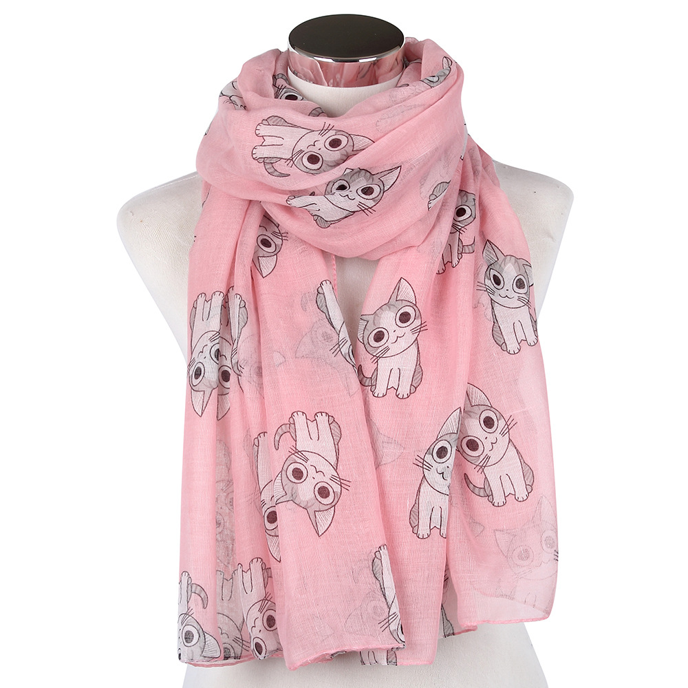 2016 Newest Cute Cat Print Scarves Shawls Women Animal Print Scarf - Apparel Accessories - Photo 3