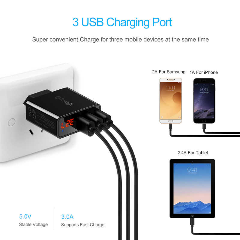 Elough Uni Eropa USB Charger untuk Iphone Samsung Xiaomi LED Display 5V 3A 3 USB Port Charger Ponsel Pengisian usb Adaptor Turbo